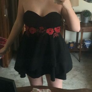 Strapless Black Dress with Roses